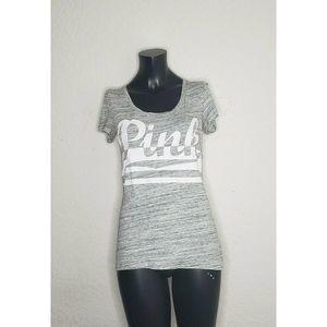 Victorias Secret PINK Silver Short Sleeve Top